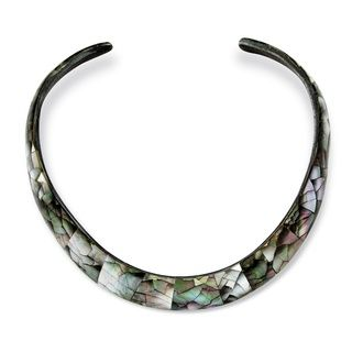 Angelina DAndrea Black Mother of Pearl Choker Necklace
