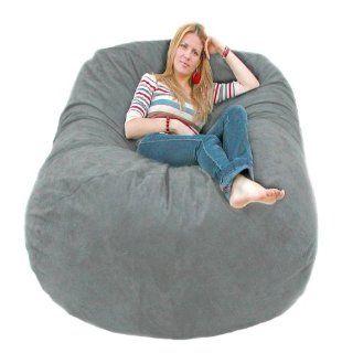 6 feet X large Grey Cozy Sac Foam Bean Bag Chair Love Seat