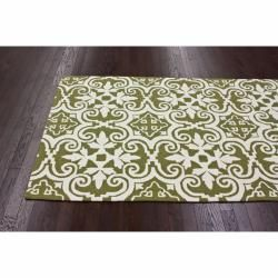 Handmade Luna Spanish Tile Green Wool Rug (5 x 8)