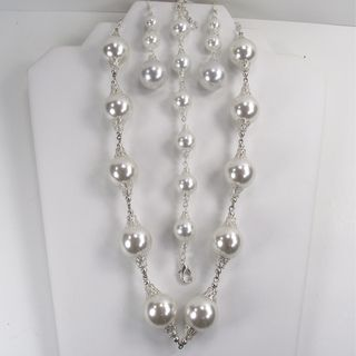 Silverplated White Glass Pearl Wedding Jewelry Set