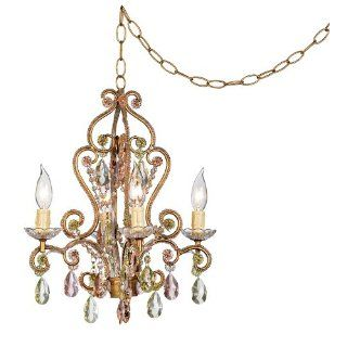 Pink and Citron Swag Plug In Style 4 Light Chandelier