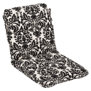 Pillow Perfect Outdoor Black/ Beige Damask Round Chair Cushion