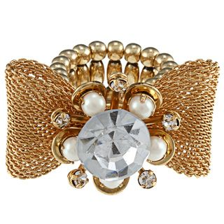 Betsey Johnson Goldtone Crystal/ Faux Pearl Ring