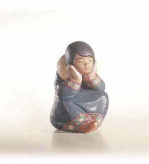 Lladro Pensive Eskimo Girl Porcelain Figurine Home