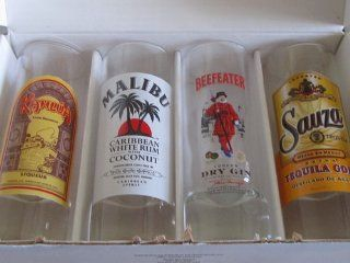 4 SHOT GLASSES 2oz/65ml BEEFEATER/MALIBU/SAUZA/KAHLUA