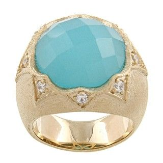 Rivka Friedman 18k Goldplated Caribbean Blue Quartzite and CZ Ring