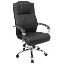 High Back Leather Office Chair with Inlay Chrome Arms