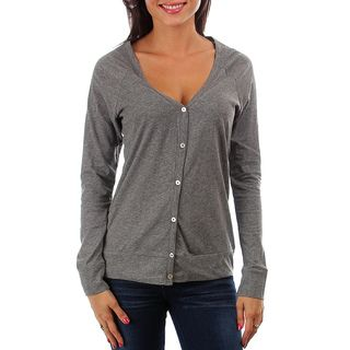 247 Frenzy 100 percent Cotton Long Sleeved Button Cardigan   Charcoal