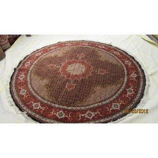 persian round rug, wool & silk, 6.7 x 6.7 feet, dark blue