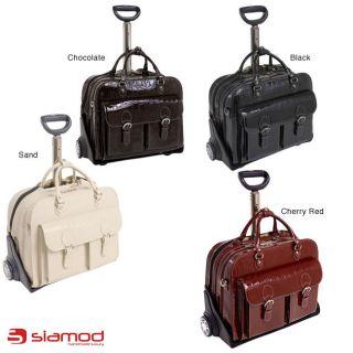 Siamod San Martino Womens Leather Detachable Wheeled Laptop Case