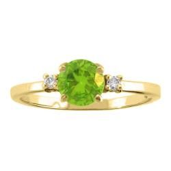 10k Gold August Birthstone Peridot and Diamond Ring