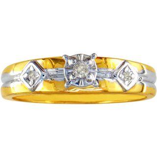 10k Yellow Gold Round Prong set Diamond Ring (K,I2)