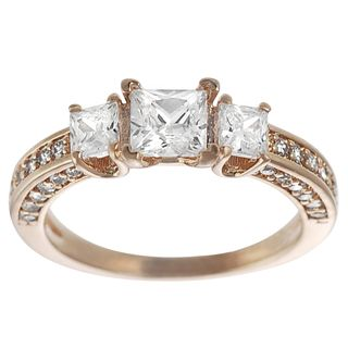 Tressa Rose Goldplated Silver Princess cut Cubic Zirconia 3 stone Ring