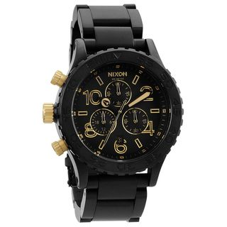 Nixon Mens 42 20 Matte Black and Gold Chronograph Watch
