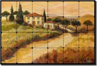 Tuscan Villa by Joanne Morris   Landscape Tumbled Marble Tile Mural 16