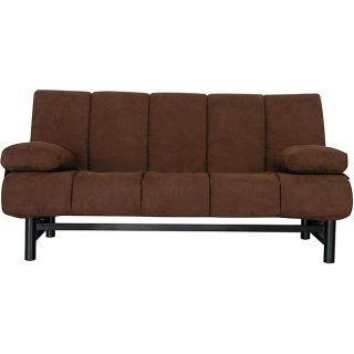 Ava Armless Pocket Coil Dark Brown Microfiber Sleeper Sofa Futon