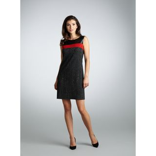 Muse Womens Black and Red Zig zag Shift Dress