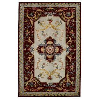 Radiant Medallion Red and Ivory Wool Rug (8 x 10)