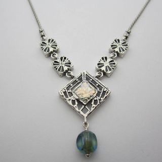 Sterling Silver Roman Glass and Crystal Filigree Necklace (Israel