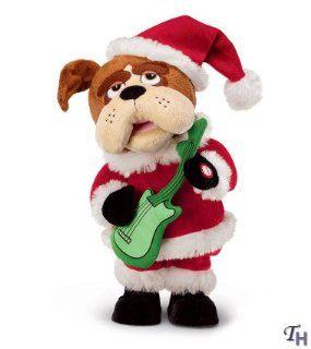 Animated Santa Singing Bulldog Plush   13 Toys & Games