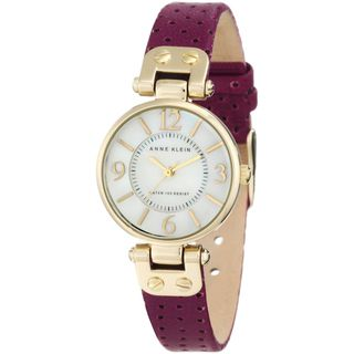 Anne Klein Womens Purple Calf Skin Quartz Watch