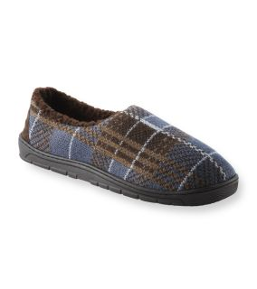 Muk Luks Mens Tom Brown Plaid Knit Foot Slippers
