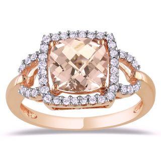 10k Pink Gold 2 1/4ct Morganite and 1/5ct TDW Diamond Ring (H I, I2 I3