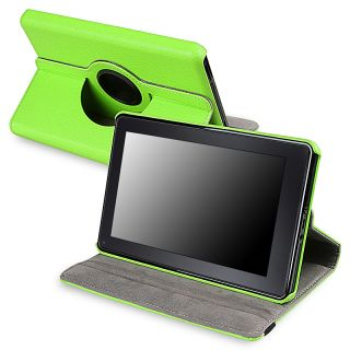 Green 360 degree Swivel Leather Case Version 2 for  Kindle Fire