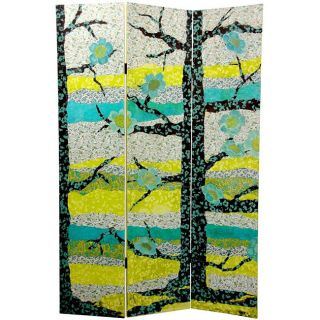 Wood and Canvas 6 foo Sylvan Collage Room Divider (China)