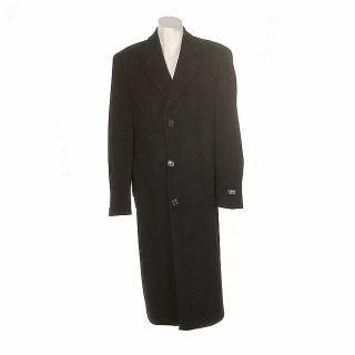 Ralph Lauren Chaps Mens Cashmere/Wool Trench Coat Black