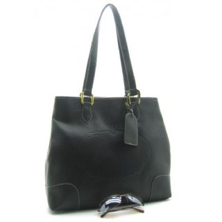 Dmitry Medium Black Faux Leather Tote Bag