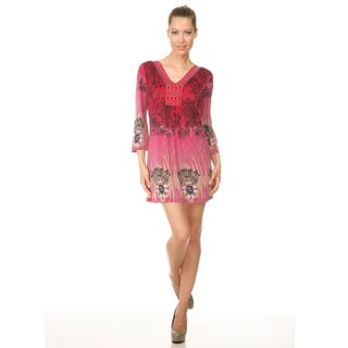 Whie Mark Womens Roma Pink Peacock Buerfly Dress