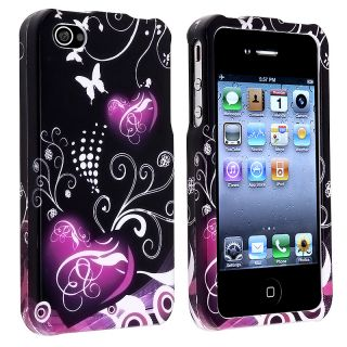 Black/ Purple Heart Snap on Case for Apple iPhone 4/ 4S