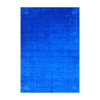 Indo Hand loomed Blue/ Ivory Gabbeh Wool Rug (10 x 14)