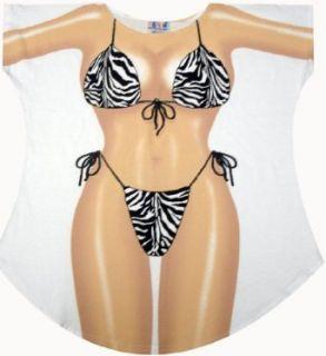 Zebra Bikini Cover up T shirt Ladys Fun Wear Clothing