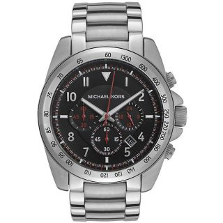 Michael Kors Mens Stainless Steel Black Dial Chronograph Watch