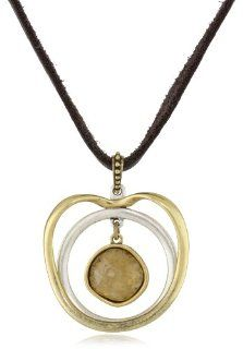 Lucky Brand Two Tone Double Circle Pendant Necklace