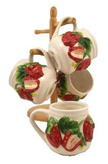 4PC COFFEE MUGS WITH WOOD RACK, STRAWBERRY DECOR Kitchen