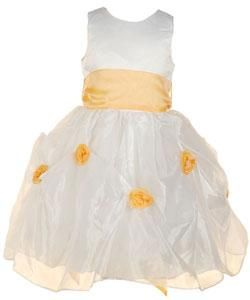 Sophias Style Girls Orange Flower Girl Dress