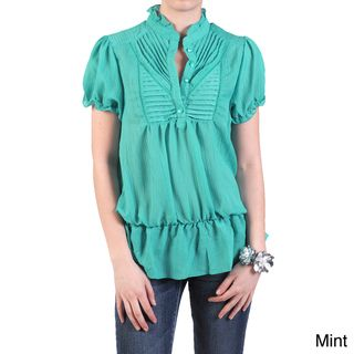 Journee Collection Womens Short sleeve Ruffled Accent Blouse