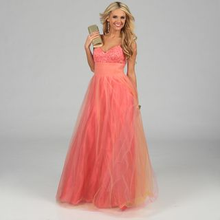 NV Couture Womens Coral Pleated Tulle Ball Gown