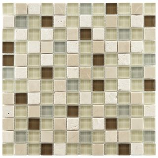 Somertile Reflections Square 1 inch York Stone and Glass Mosaic Tiles