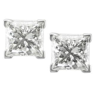 14k White Gold 2ct TDW Princess cut Diamond Stud Earrings MSRP $