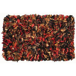 Hand woven Leather Multi Color Shag Area Rug (5 x 8)