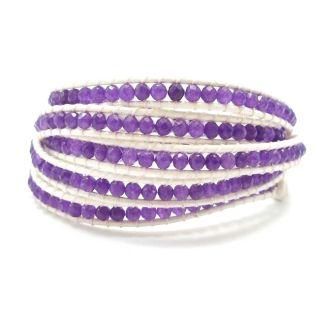 Mini Purple Amethyst Facets White Leather 5 Wrap Bracelet (Thailand