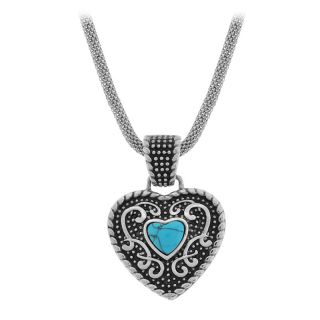 Inox Stainless Steel Turquiose Heart Pendant Necklace