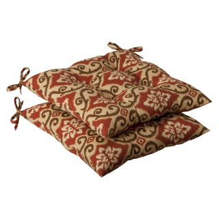 Pillow Perfect Outdoor Red/ Tan Damask Tufted Seat Cushions (Set of 2