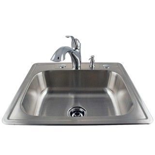 Drop in Stainless Kitchen Sink and Chrome Faucet Kit