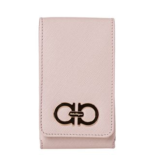 Salvatore Ferragamo 22 A950 Light Pink Embossed Leather iPhone Case