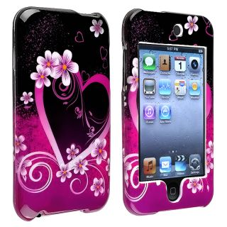 Purple Heart with Flower Case for Apple iPod Touch Generation 2/ 3